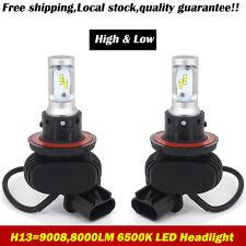 H13 9008 8000LM LED Headlight Hi/Lo Beam 50W Cool White Bulbs CSP Halogen or HID