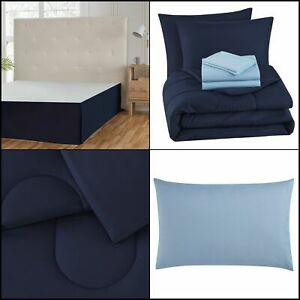 6-Piece Bed-in-a-Bag Solid Navy Blue Twin Sheets Shams Pillowcases Comforter