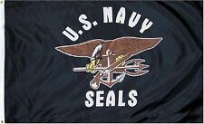 3x5 US U.S. Navy Seal Seals Black Flag 3'x5' House Banner Grommets Super Poly