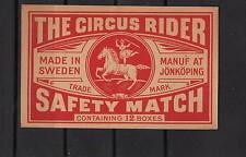Ancienne étiquette  de paquet allumettes  Suède   QQ105 Cirque Cheval Femme