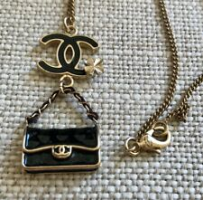 Rare Authentic Chanel Necklace Chain Camellia Quilted Handbag Charm