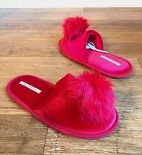 Victoria's Secret Solid Red Pom Pom Slip On Slippers Sz Medium New
