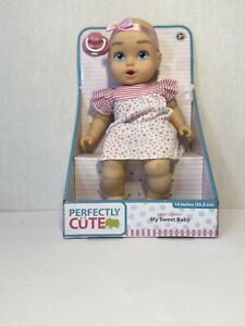 "Perfectly cute my sweet baby 14"" baby doll blue eyes pink stripe star dress"