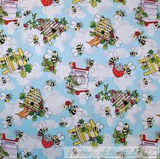 BonEful Fabric FQ Cotton Quilt Blue White Cloud Bee*Hive Tree House Flower Retro