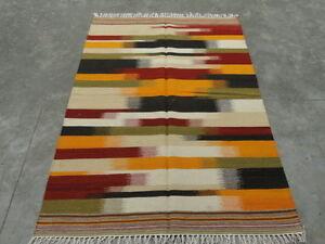 Handwoven Woolen Ikat Striped Rug Dhurrie Kilim Area Rug Carpet 5x8 Feet