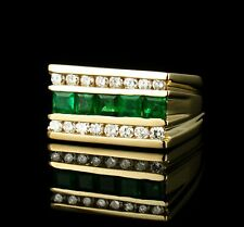 RARE NATURAL 1.32ctw COLOMBIAN EMERALD & DIAMOND SOLID 14K GOLD MENS BAND RING