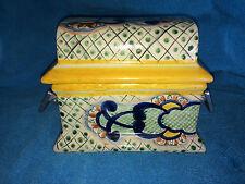 VINTAGE Terracotta Pottery Handmade in MEXICO Jewelry Treasure Box w/ metal hand
