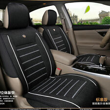 Black Linen Fabric 5-Seats Car Seat Cover Front+Rear Set Car Interior Accessorie