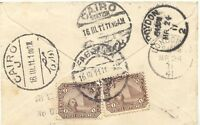 EGYPT 1911 1 Mill (2x) multiple postage on Lady Cover with 6 different postmarks