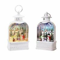 Christmas Lighted Snow Globe Lantern Water Glittering with Music Timer, USB and