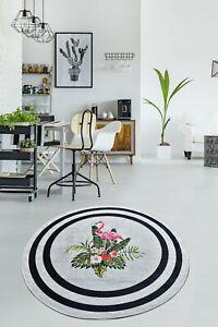 Non-slip Circle Rugs living room 100cm Round Mat Washable ROOM Carpet Flamingoo