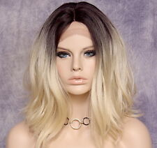 Full Lace Front Wig Wavy Blonde brown roots Heat OK Hair Piece Full WBHI 4-613