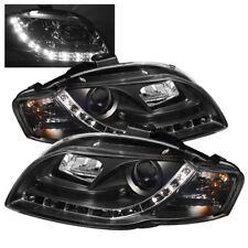 Audi 06-08 A4 Black Projector Headlight Daytime Running Light DRL LED 06 07 08