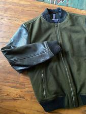 Tommy Hilfiger Bomber Jacket Wool & Leather Zip Up Men's Medium / Slim Large