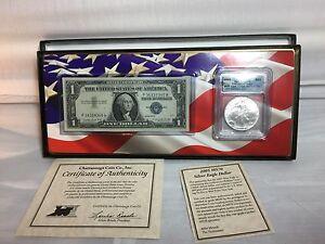 Walking Liberty Silver Dollar & 1957 Silver Certificate Dollar Bill Set 2005-New