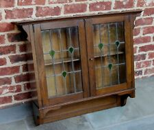 Antique English Oak Arts Crafts Hanging Wall Cabinet Shelf Stained Gl Large