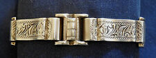 ARTISAN SIGNED, STERLING, ENGRAVED, LADY'S VINTAGE, 4 SECTIONS BRACELET