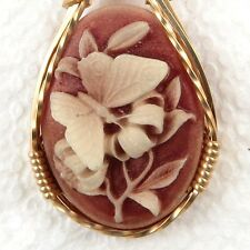 Butterfly Cameo Pendant 14K Rolled Gold Jewelry Art Pink Resin