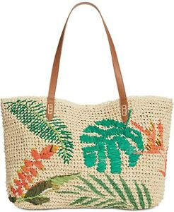 INC Large Tropical Straw Tote - Sea/Natural MSRP $39.50
