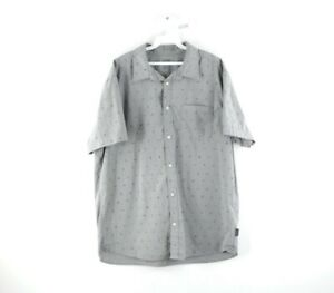 Hurley Mens Large Streetwear Geometric Print Short Sleeve Button Front Shirt