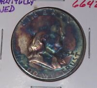 1954 Franklin Silver Half Dollar - 90% Silver - Beautiful Rainbow Toning