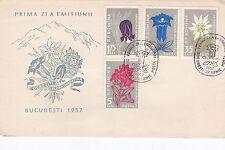 Romania 1957 Flowers of The Carpathian Mountains  Set of 2 FDC VGC