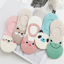 5x Girl Animal Printed Cotton Sock Anti-Slip Low Cut Casual Ankle Sock Free Size