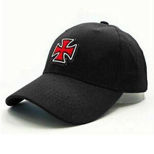 The Knights Templar Soldiers Maltese Cross Hat Men Viking Punk Cap Cotton Black