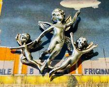 Vintage Sterling Silver Cherub Pin 3 Cherubs Angels 10 Grams Large