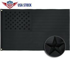 All Black American Flag 3x5 ft Embroidered USA Blackout Tactical US Black Flag
