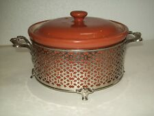 Vintage Guernsey Cooking Ware Brown Bean Pot Casserole with Filigree Metal Stand