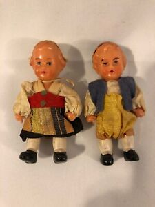 Miniature Celluloid Boy and Girl Doll Germany Austrian 3""