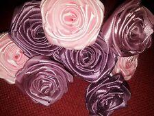 "10 Handmade ribbon roses flowers craft 1-2"" pink purple red plum berry"