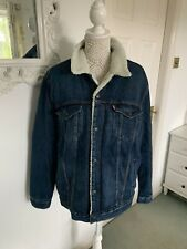 Levi's Strauss Fur Fleece Lined Denim Jacket Blue Quilt Lined Sleeve Size XL