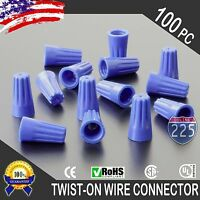 (100) Blue Twist-On Wire Connector Connection nuts 22-14 Gauge Barrel Screw US