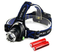 90000LM Rechargeable Head light T6 LED Tactical Headlamp Zoomable+18650 Battery