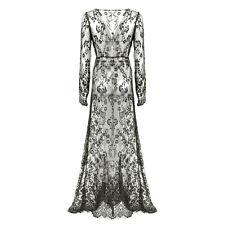 Women Elegant Floral Lace Boho Long Maxi Dress Evening Party Wedding Ball Gown Dark Blue XXL