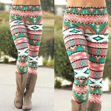Women Xmas Snowflake Reindeer Knitted  Leggings Skinny Pencil Pants Trousers GW