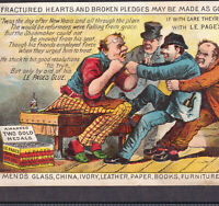 Fractured Hearts Glue poem 1800's LePages Glue Victorian Advertising Trade Card