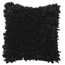 RAFFLES BLACK Ruffle Square Filled Cushion 45cm x 45cm Ultima Logan and Mason