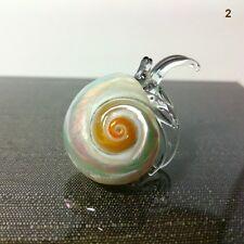 SEASHELL HERMIT CRAB HAND BLOWN GLASS ART FIGURINE MINIATURE HOME COLLECTION#2