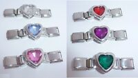 GEM HEART Italian Charm CONNECTOR Link - Choice of Colours fits 9mm Bracelets