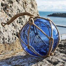 """Glass Fishing Float   6"""" Blue Fishing Buoy   Coastal Decoration"""
