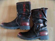 BIKKEMBERGS stylische Leder-Stiefel schwarz rot Gr. 31 TOP KaS215