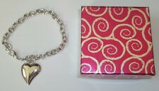 "HIGH POLISHED STAINLESS STEEL HEART CHAIN LINK 8"" ADJUSTABLE(BRACELET)W/GIFT BOX"
