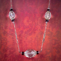 ART DECO GLASS CHAIN NECKLACE SILVER CIRCA 1920