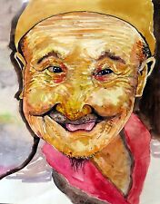 "Original watercolor painting""An Old Man""by Nardu Debrah,Protrait,Size11'X14"""