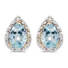 14k Yellow Gold Pear Aquamarine And Diamond Earrings