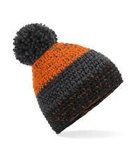 Warm Soft Touch Acrylic 3 Stripe Bobble Pom Pom Ski Beanie Hat Thermal Headband