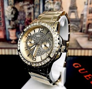 AUTHENTIC GUESS LADIES' SASSY WATCH GOLD TONE RRP:$379 U0705L2 Brand New